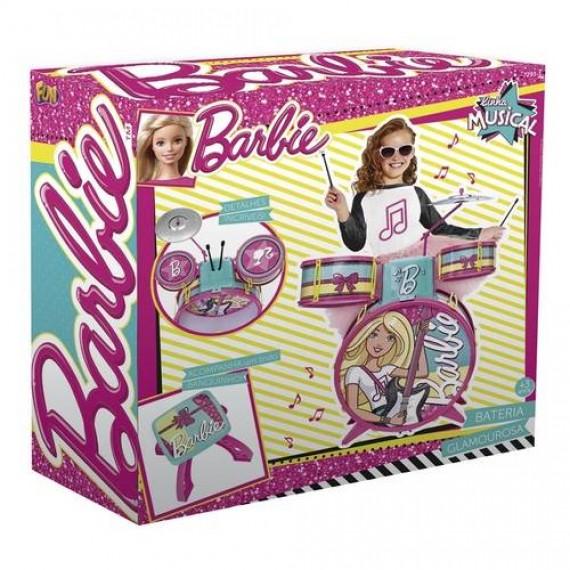 Bateria Infantil Barbie Fabulosa Com Banquinho Fun